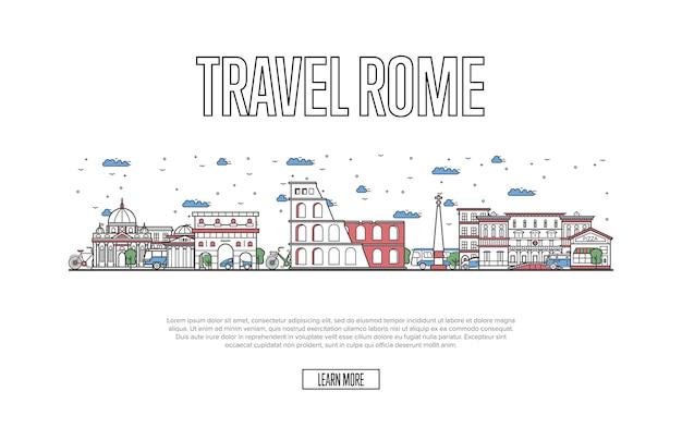 Reise-rom-plakat in der linearen art