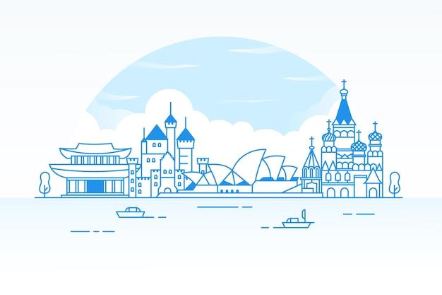 Reise sehenswürdigkeiten skyline skizzieren