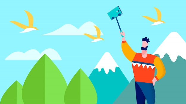Reise selfie auf mountains traveler blog