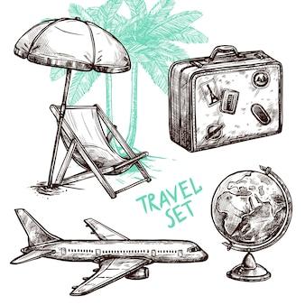 Reise skizze dekorative icon set