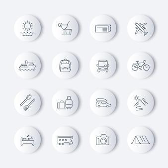 Reise-, tourismus-, reise-, urlaubslinie-icons-paket