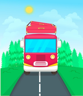 Reise transport busfahrt in den wald