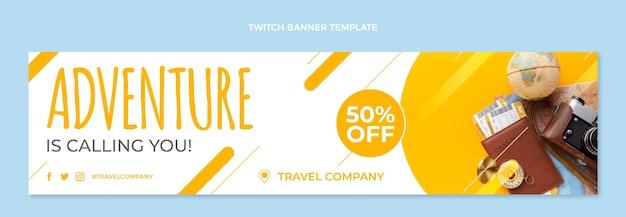 Reise-twitch-banner im flachen design