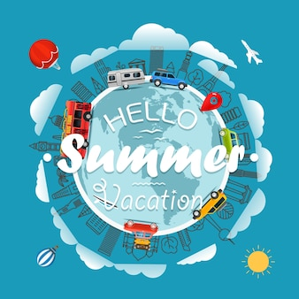 Reise um die erde hallo sommerferien vektor-illustration