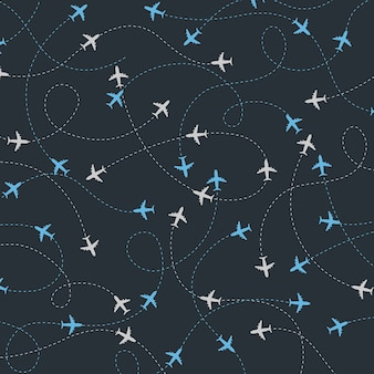 Reise um die welt flugzeug routen nahtlose muster