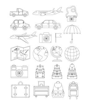 Reise um die welt setze icons