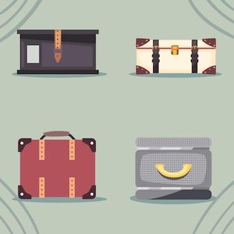 Reise- und reisetaschen-icon-set