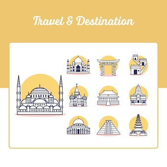 Reise- und reiseziel-symbole mit gliederungsstil festgelegt