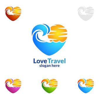 Reise-und Tour-Logo mit Liebe, Sonne und Strand Konzept