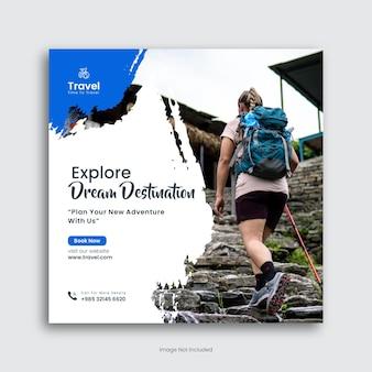 Reise- und tourenagentur social-media-post-vorlage oder instagram-post-premium-vektor