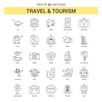 Reise-und tourismus-linie icon set - 25 gestrichelte umriss-stil