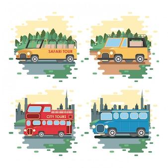 Reise- und transportkarikaturen