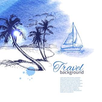 Reise- und urlaubshintergrund. handgezeichnete skizze aquarellillustration