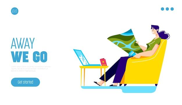 Reise- und urlaubsplanungs-reise-website-design mit mädchen unter verwendung der weltkarte