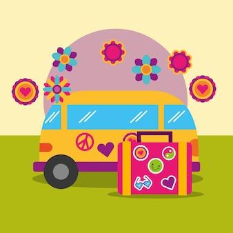 Reise-van und koffer blumen retro hippie freigeist