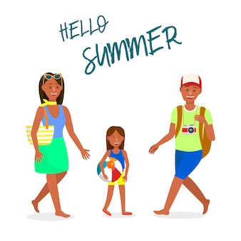 Reise-vektor-postkarte mit hallo sommer-beschriftung
