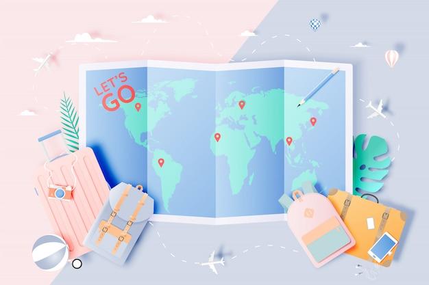 Reise verschiedene gegenstände im papierkunststil