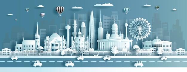 Reise-wahrzeichen finnland stadt mit moderner und alter architektur,