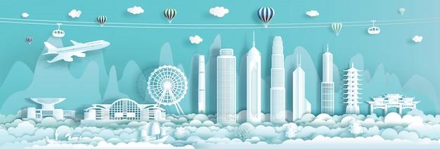 Reise-wahrzeichen innenstadt-china hong kong mit städtischem wolkenkratzerhintergrund.