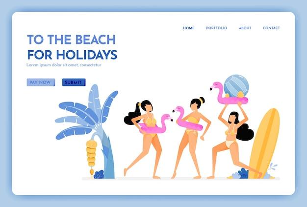 Reise-website zum strand für urlaub landing page