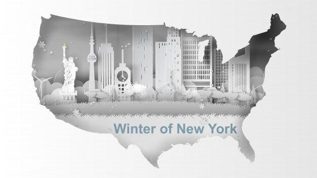 Reise-winter- und schneesaisonkarte von new york city