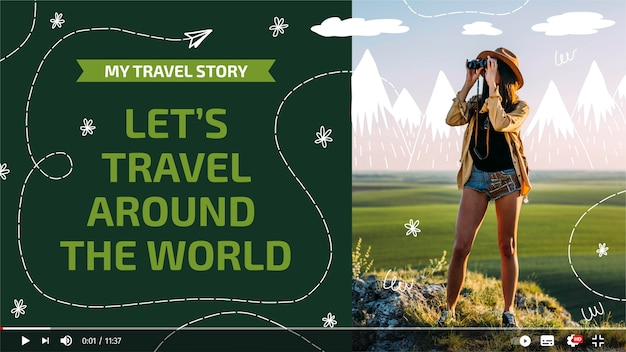 Reise-youtube-miniaturbild mit handgezeichneten elementen