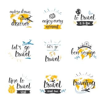 Reise-zitat-ikonen-gesetzte hand gezeichnet, tourismus und abenteuer beschriftend