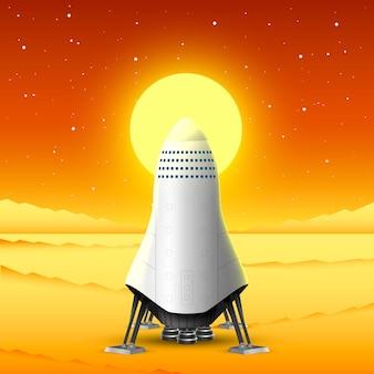 Reise zum mars, raketenstart, kreativideenstart. vektor-illustration