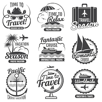 Reiseabenteuer-vektorweinleseaufkleber und -embleme