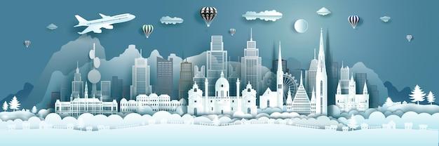 Reisearchitektur österreich wahrzeichen in wien berühmte stadt europa mit luftballons heiße luft. tour salzburg mit panoramischer populärhauptstadt durch papierorigami