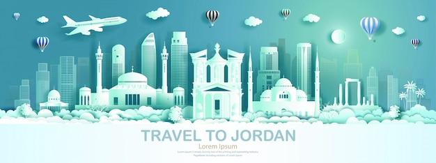 Reisearchitekturmarkstein von jordanien mit modernem gebäude, monument, alt.