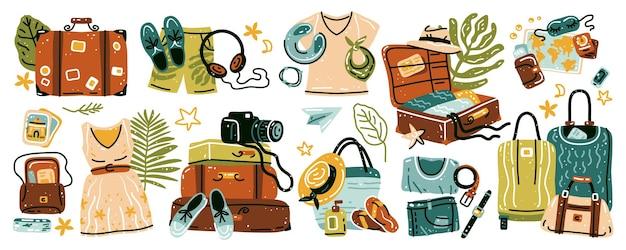 Reiseartikelsammlung von gegenständen für den urlaub