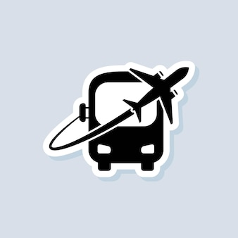 Reiseaufkleber. symbol für bus und flugzeug. logo des reisebüros. vektor auf isoliertem hintergrund. eps 10.