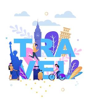 Reisebeschriftung mit glücklichen touristen und marksteinen