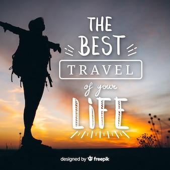 Reisebeschriftungshintergrund mit foto