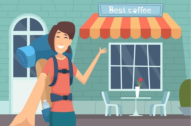 Reiseblogger. mädchen, das digitalen inhalt caffe bewertung online anzeigt, der moderne gebäude anzeigt, die vektorunterhaltungskonzept lehren. blogger über reisen, blog-video zur illustration in sozialen medien
