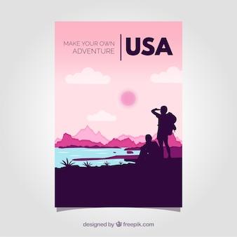 Reisebroschüren mit silhouetten
