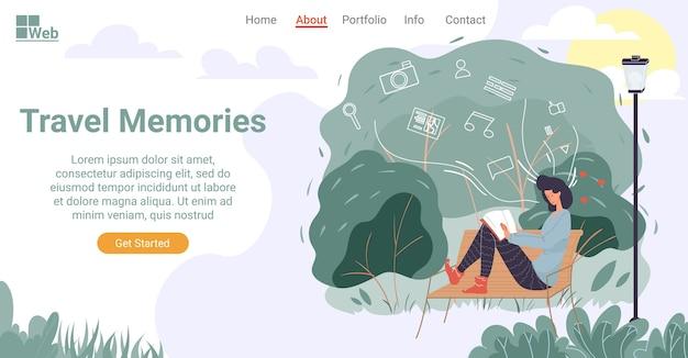 Reisebuch für gutes gedächtnis. junge frau sitzt auf bank im stadtpark, der bildalbumseite dreht. digitaler cloud-anwendungsspeicher für foto- und videodienste vermeiden verlust. landing page design-vorlage
