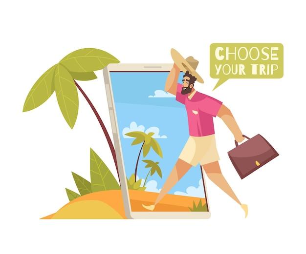 Reisebuchung in mobiler app-komposition mit cartoon-figur, die mit taschenillustration in den urlaub geht