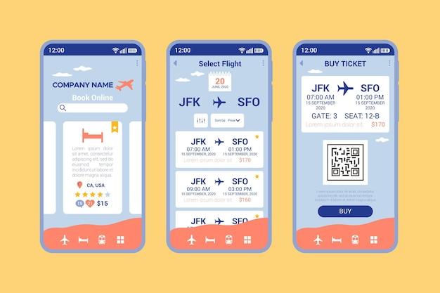 Reisebuchungs-app-bildschirme