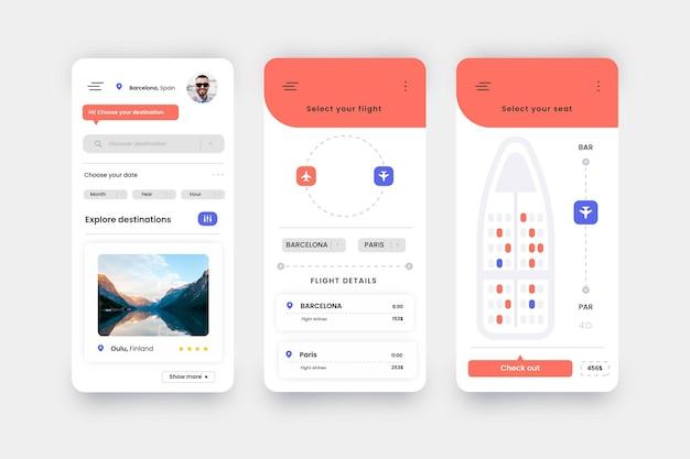 Reisebuchungs-app mit flugzeugreservierung