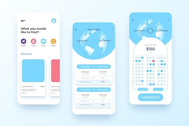 Reisebuchungs-app mit kalender am telefon