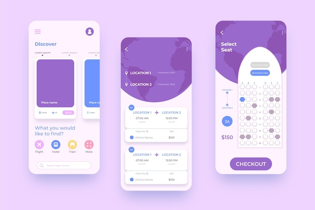 Reisebuchungs-app-oberfläche für mobiltelefone