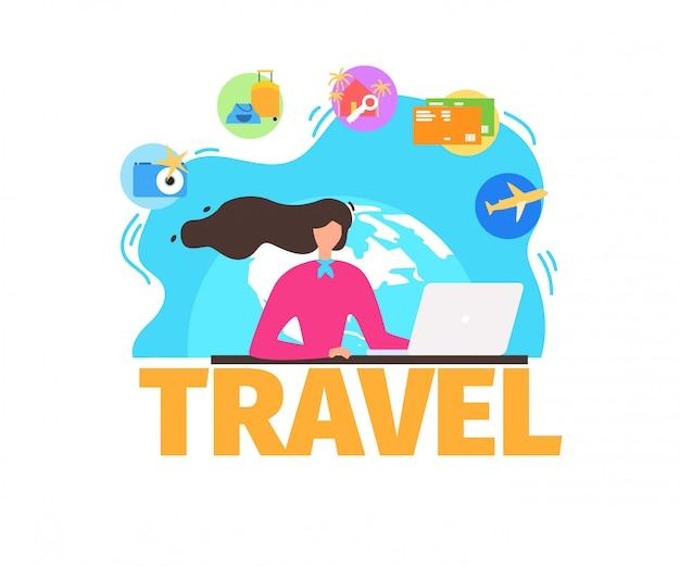 Reisebüro dienstleistungen flache vektorfahne