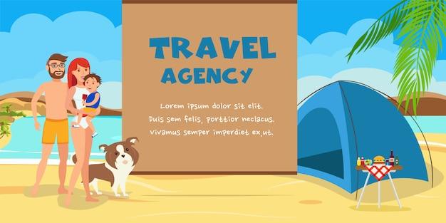Reisebüro-farbillustration mit text.
