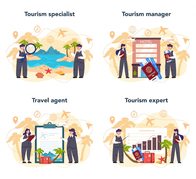 Reisebüro-konzeptset. büroangestellter, der tour, kreuzfahrt, atemweg verkauft