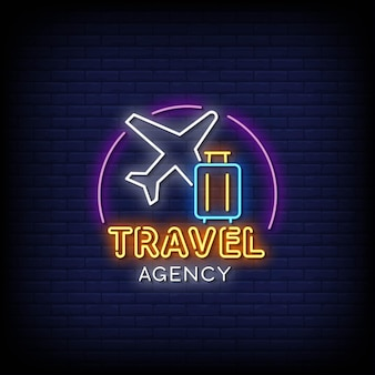 Reisebüro leuchtreklame stil text