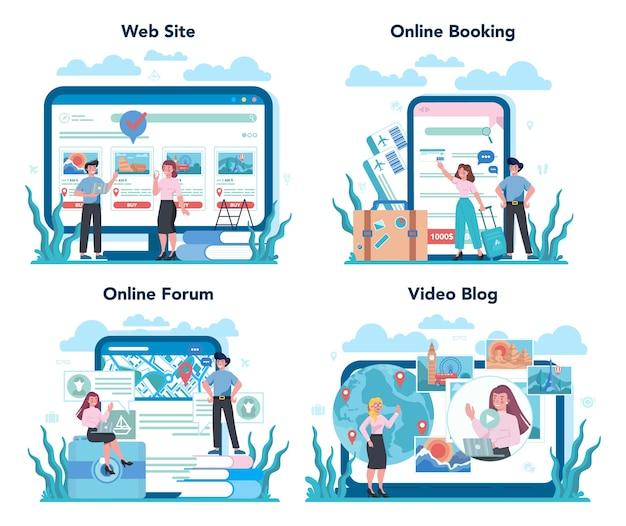 Reisebüro online-service oder plattform-set. büroangestellter, der tour verkauft