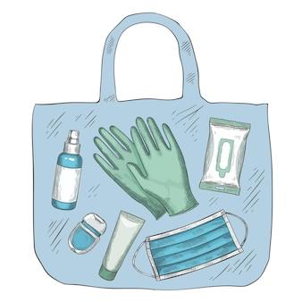 Reisedesinfektionsset. desinfektionsmittel, medizinische maske, handschuhe, alkoholspray und tücher im beutel. neues normales leben während covid-19, vektorkonzept. coronavirus-pandemieschutz, infektionsprävention