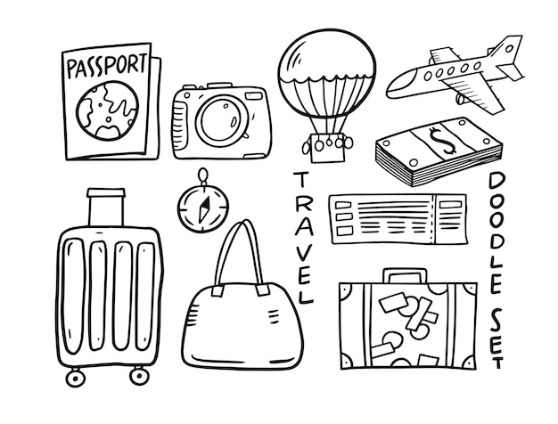 Reiseelemente gekritzel-set. hand gezeichnete illustration. auf weißem hintergrund isoliert.